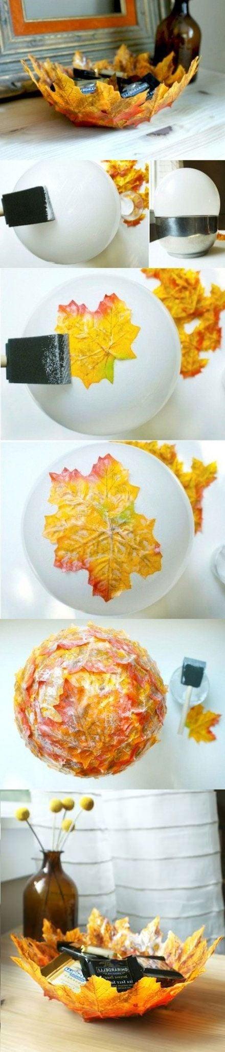 Tischdeko Herbst - Herbstblätter basteln