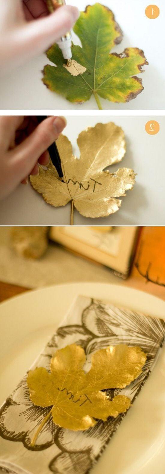 Tischdeko Herbst - Platzkarten mit Herbstblätter basteln