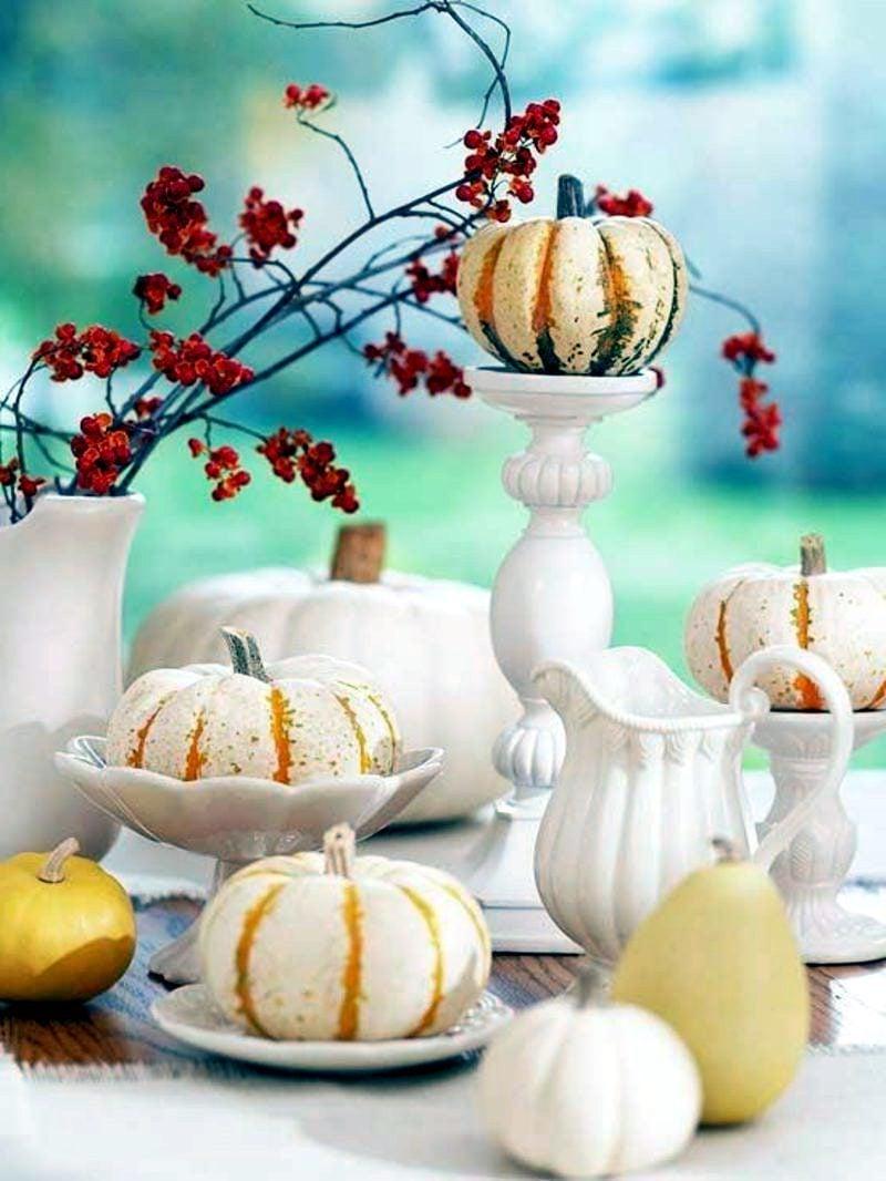 Herbst Tischdeko Kürbisse