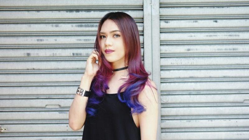 Balayage Technik schöne Haarfarben Violett
