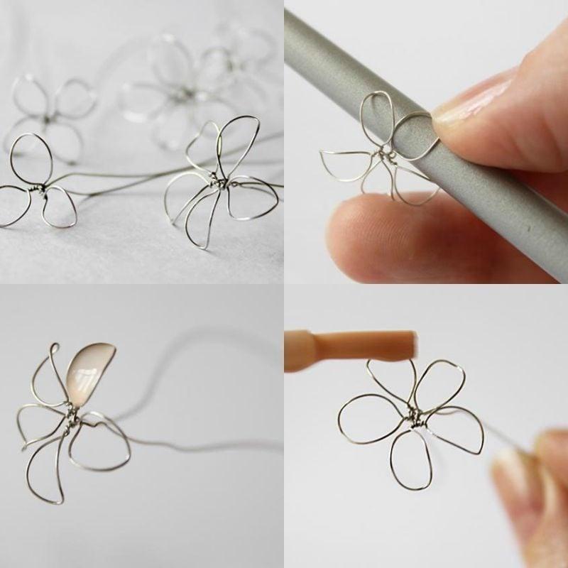 Schmuck DIY Blumen aus Draht