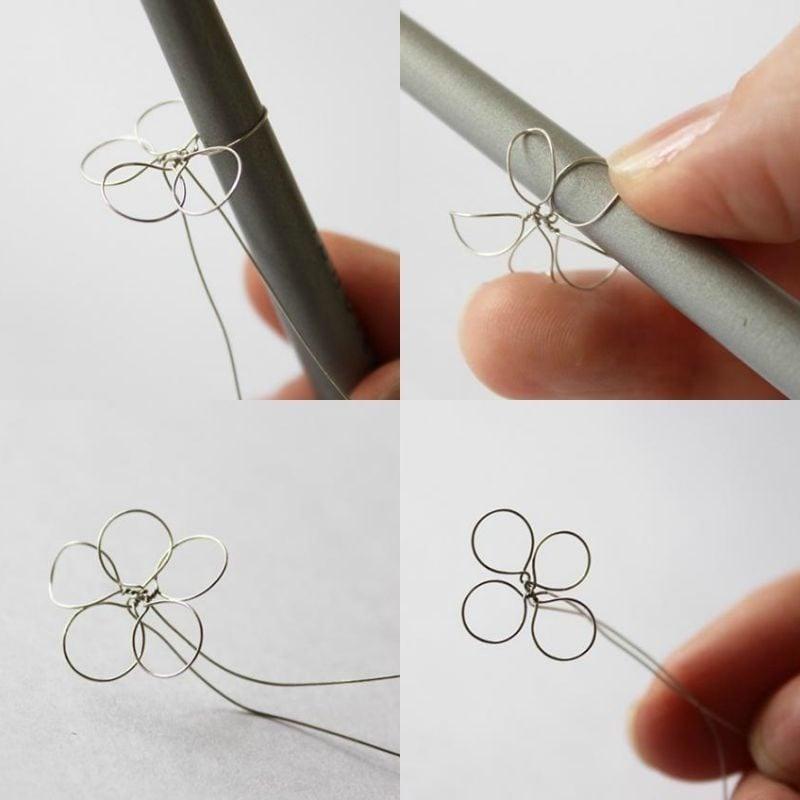 Schmuck Blumen aus Draht basteln Anleitung
