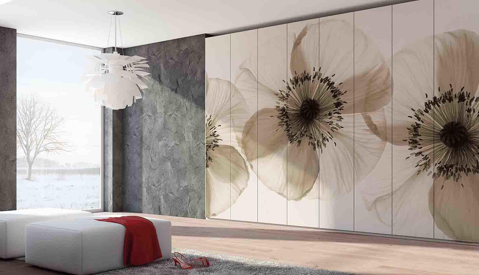 Blumiges Wohnzimmer-Wand