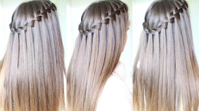 Flechtfrisuren lange Haare Wasserfallzopf