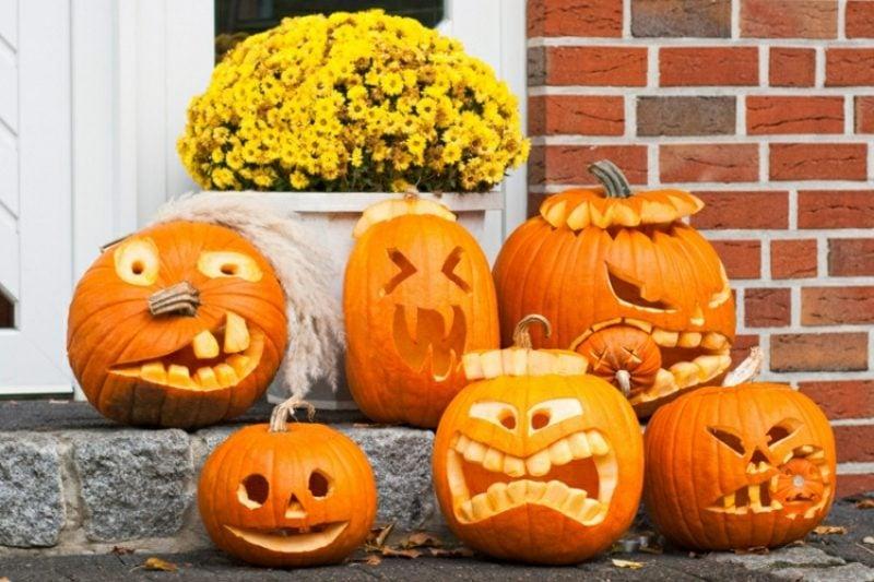 Kürbis Gesicht lustig Dekoideen Halloween