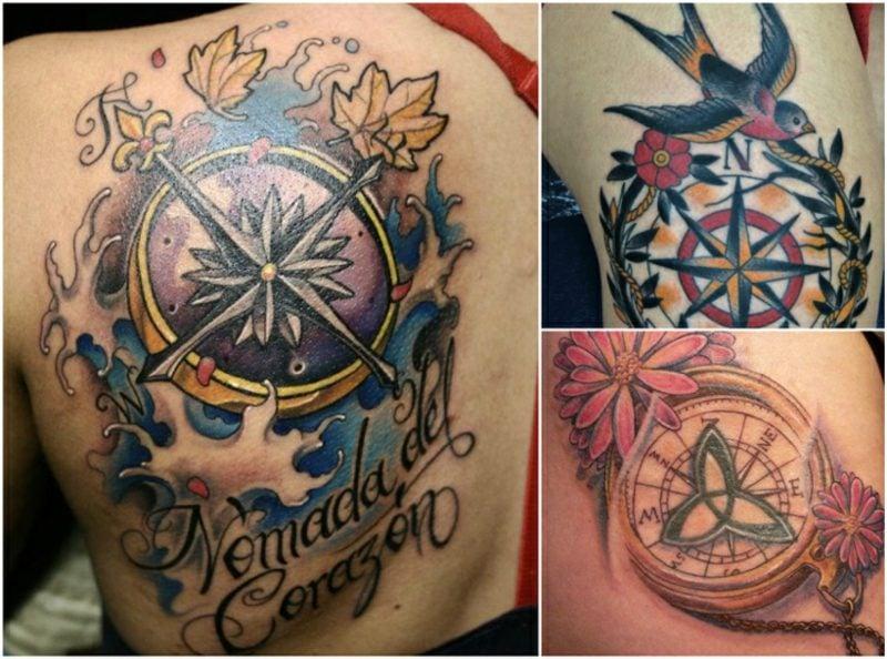 Tattoo Kompass 3 moderne Designs