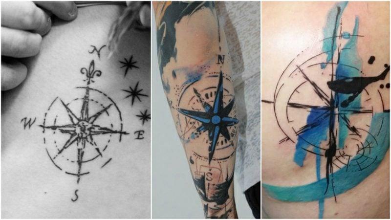 Kompass Tattoo Vorlage Wasserfarben
