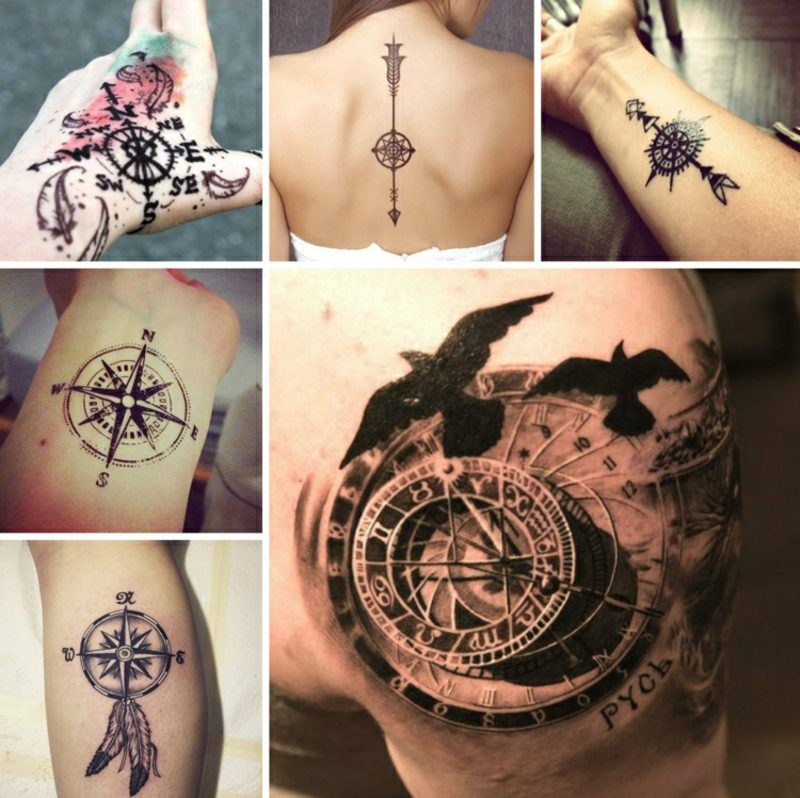 Tattoo Kompass tolle Designs 3D Optik
