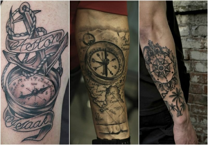 Weltkarte Tattoo Kompass 3D Optik Mann