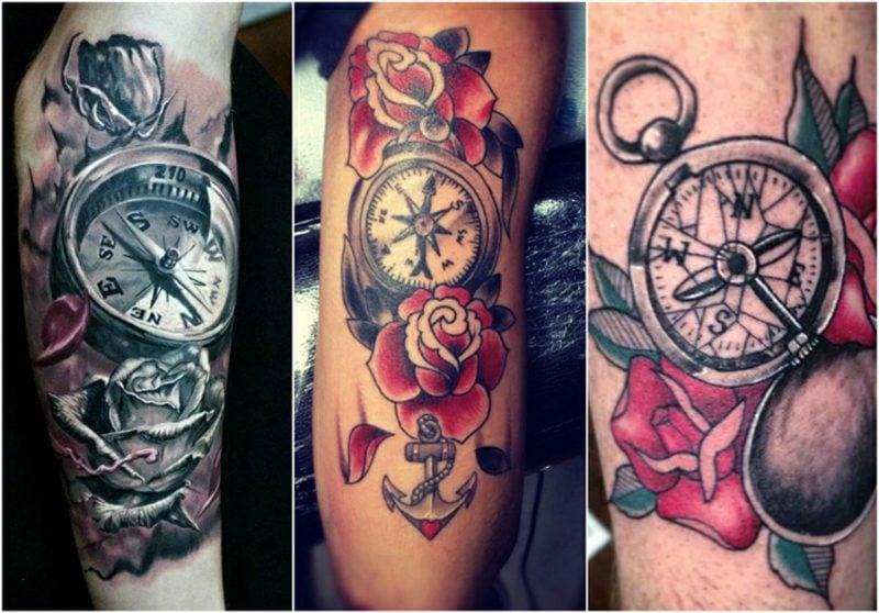 Kompass Tattoo Vorlage Rosen herrlicher Look
