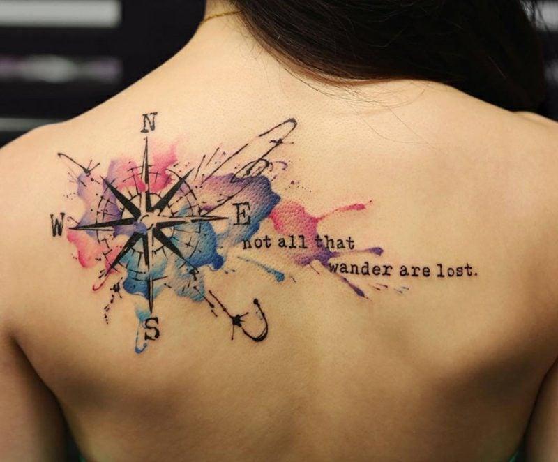 Kompass Tattoo Vorlage Frau Wasserfarben