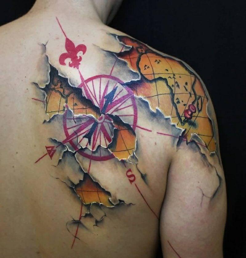 Weltkarte Tattoo Kompass origineller Look
