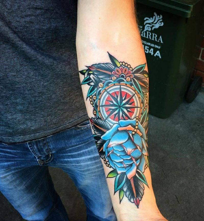 Virtualnights Leipzig Tattoo Unterarm Kompass