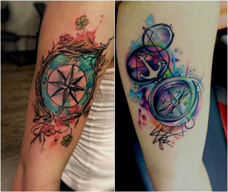 Kompass Tattoo Vorlage bunt Wasserfarben