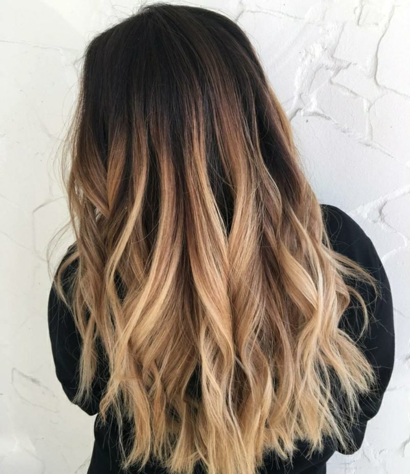 Ombre Braun blonde Haarspitzen