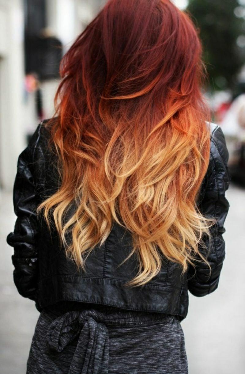 Painting Haare Ombre Look roter Haaransatz blonde Spitzen