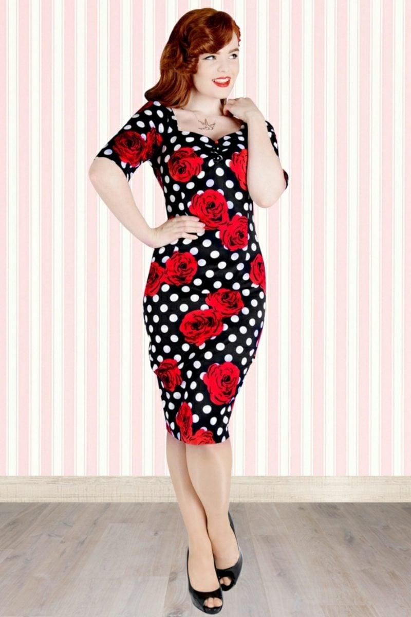 Miss Mole elegantes Kleid rote Rosen Punkten Rockabilly