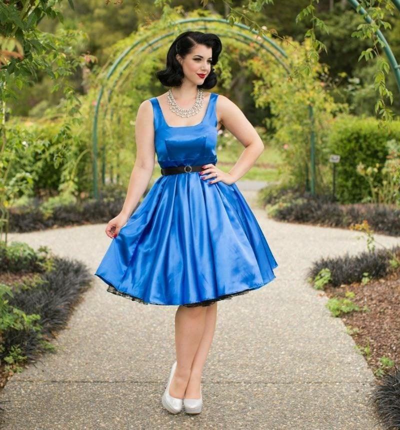 Kleid türkis knielang super elegant Rockabilly Stil