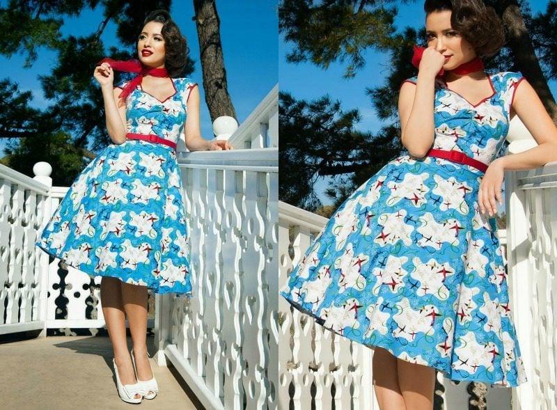 Kleid türkis Rockabilly Stil rote Akzente