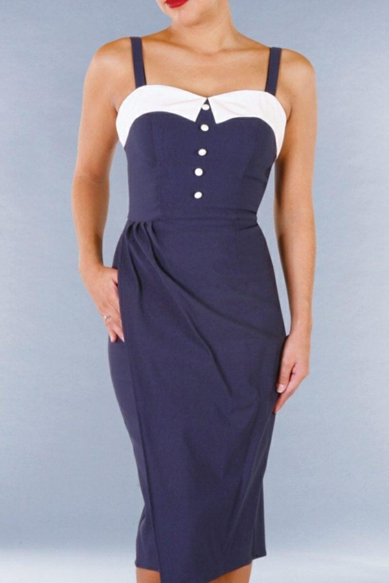 Retro Kleider Marineblau eleganter Look