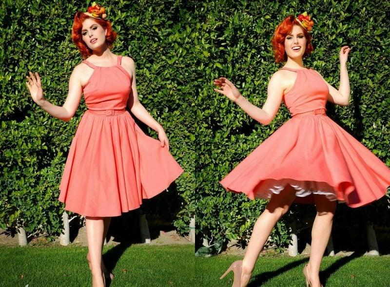 Miss Mole Rockabilly Kleid in Pfirsichfarbe