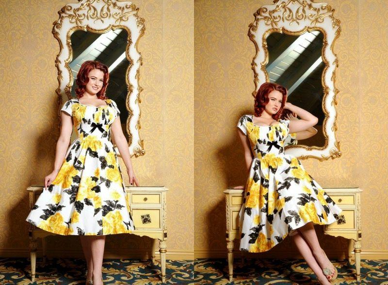 Miss Mole elegantes Kleid weiss gelbe Rosen Rockabilly