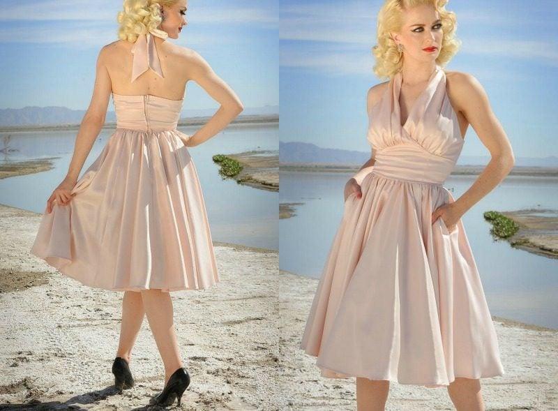 Rockabilly Mode Sommerkleid in Hellrosa zart