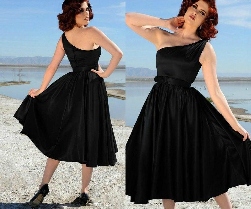 Rockabilly Stil elegantes Kleid in Schwarz asymmetrisch Schulter