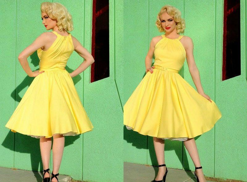 Rockabilly Kleider stilvoll strahlendes Gelb