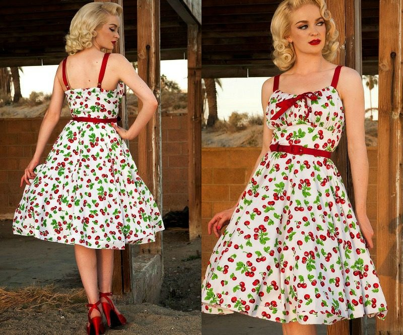 Rockabilly Kleider elegant weiss Kirschen Prints