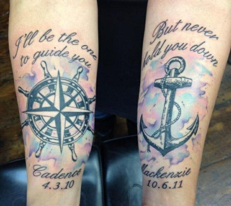 Tattoo Spruch Familie Kompass Anker