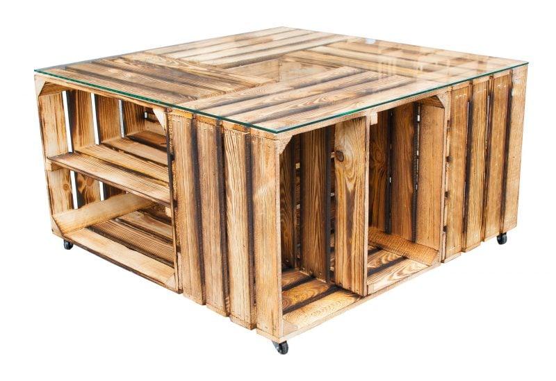 Weinkisten tisch selber bauen diy zenideen for Weinkisten tisch glasplatte