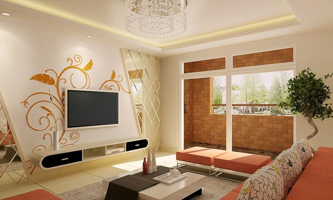 Stilvolles Wohnzimmer mit Spiegelwand