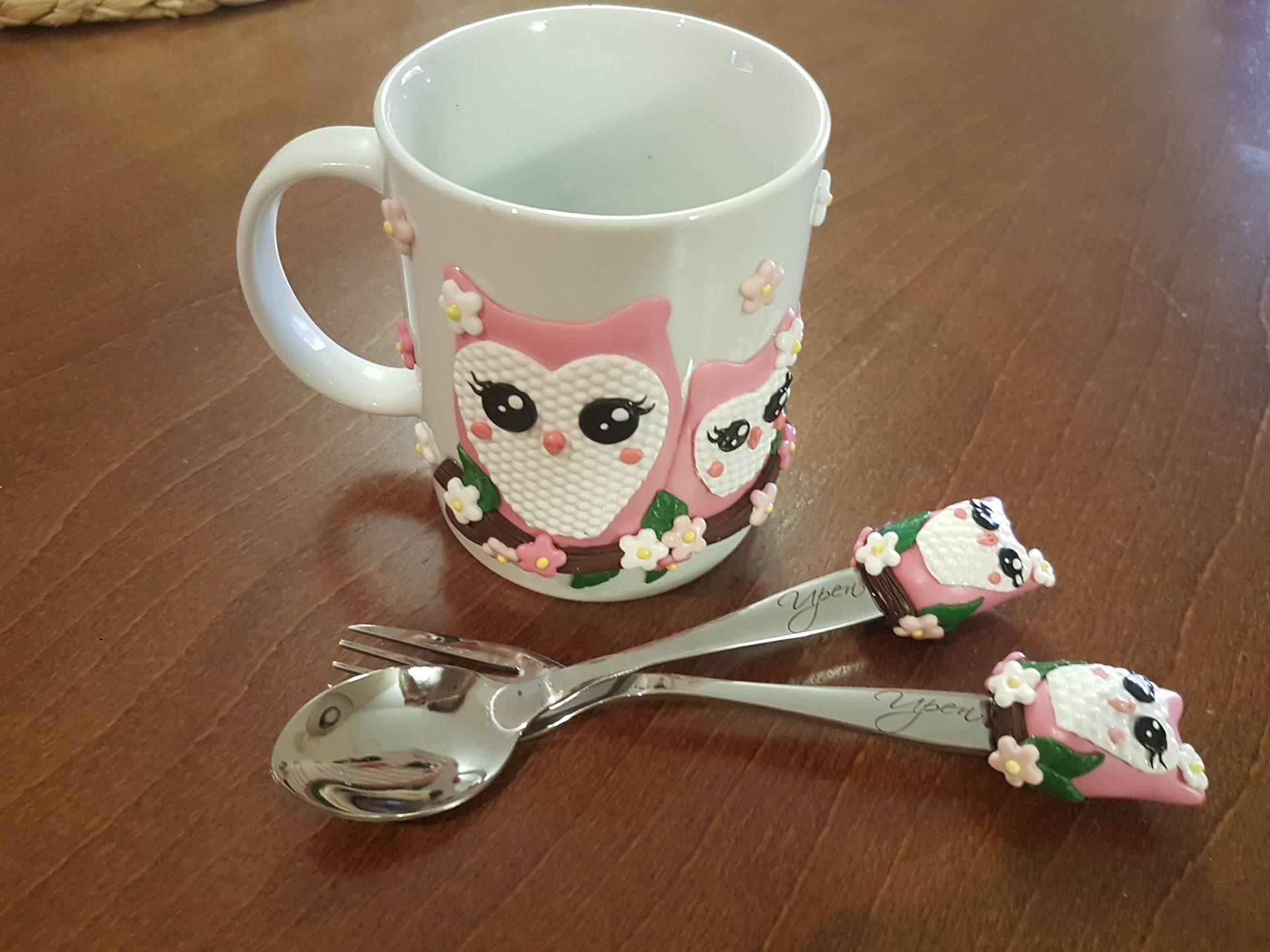 Süße Eulen - Besteck für Kinder mit einer Tasse