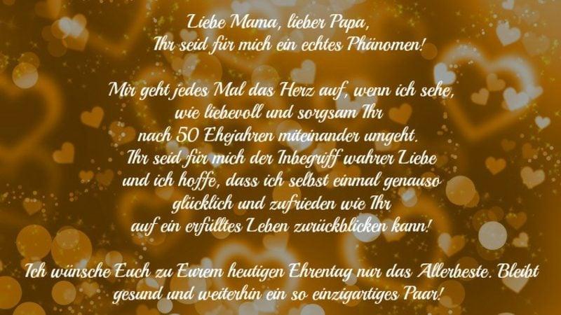 Gluckwunsche Und Spruche Fur Die Goldene Hochzeit Der Eltern Und