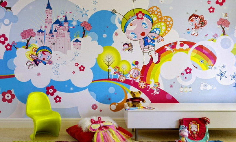 Lustige Kindertapeten in frischen Farben