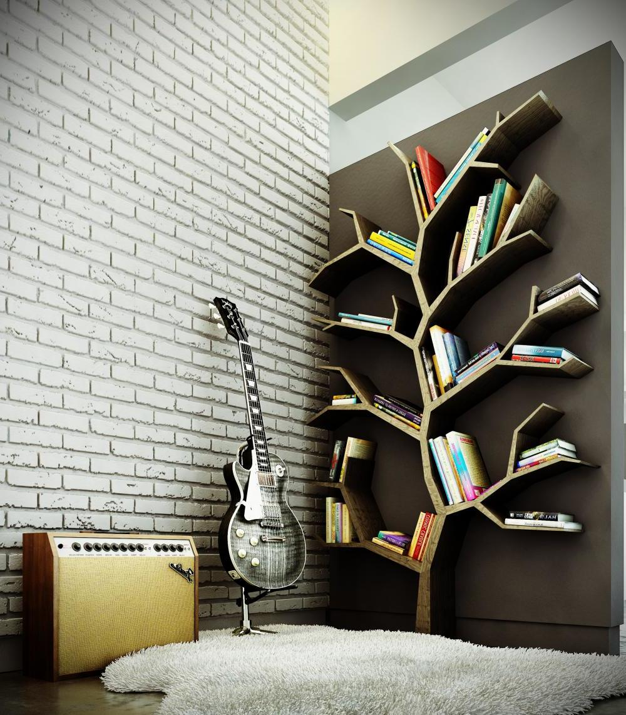 Kreative Wandgestaltung für Wohnzimmer im rockigen Stil
