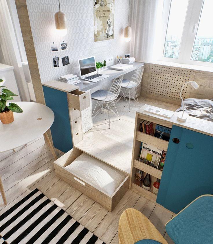 1 Zimmer Wohnung Einrichten - Schrank unter der Bodendeckung