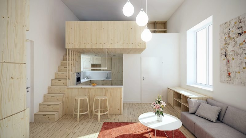 Nischen und Ebene-Nutzung beim 1 Zimmer Wohnung Einrichten