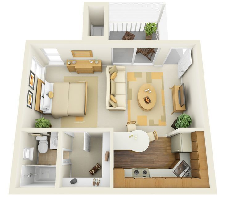 GroB Plan Einer 1 Zimmer Wohnung Einrichten