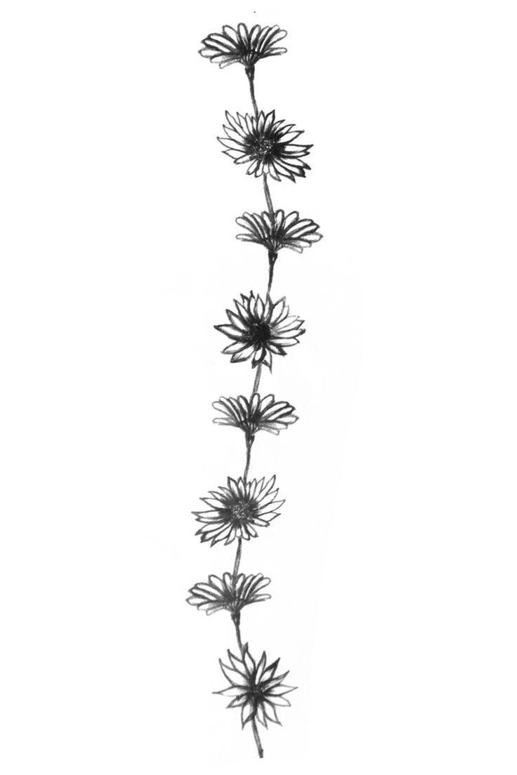 Blumen passend für ein Tattoo am Rücken, an der Wirbelsäule