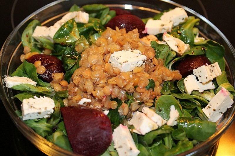 Salate Herbst Feldsalat mit Linsen