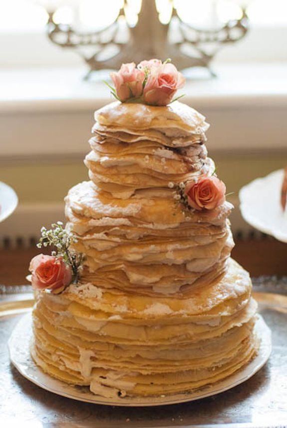 Hochzeitstorte aus gesunden Pancakes