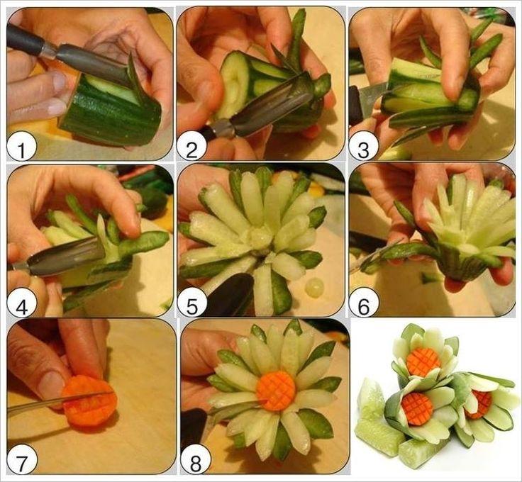 Blumen aus Gurken für die kalten Platten