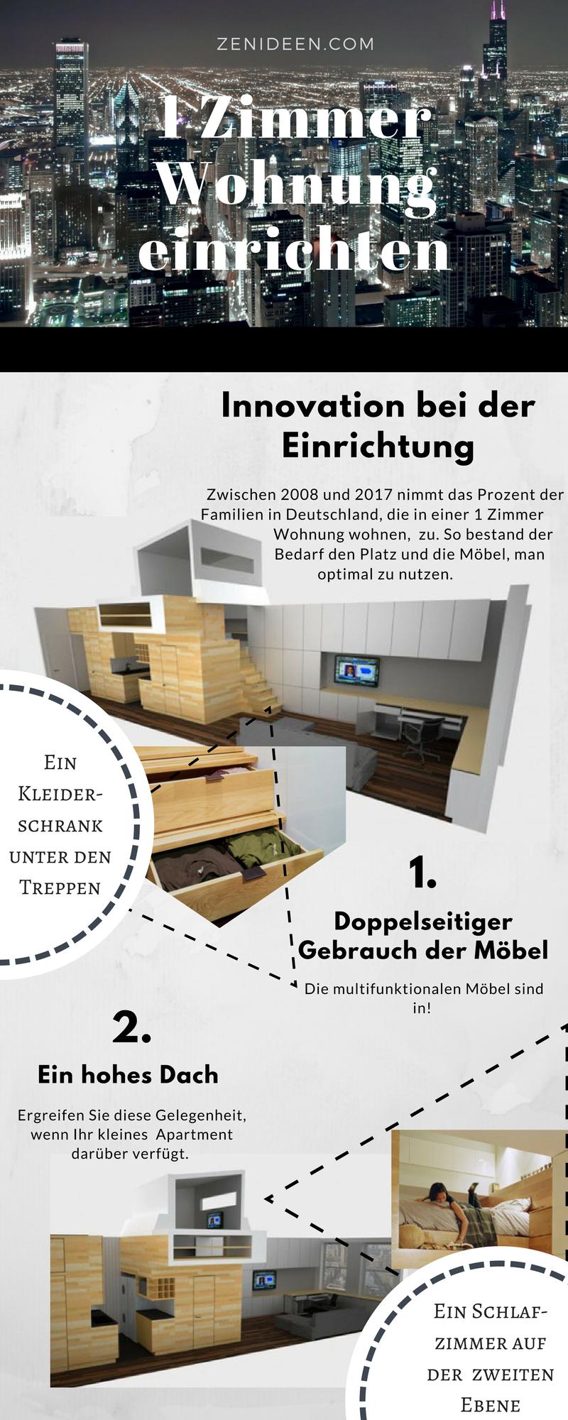 Die Möbel haben einen doppelseitigen Gebrauch, wenn Sie 1 Zimmer Wohnung einrichten