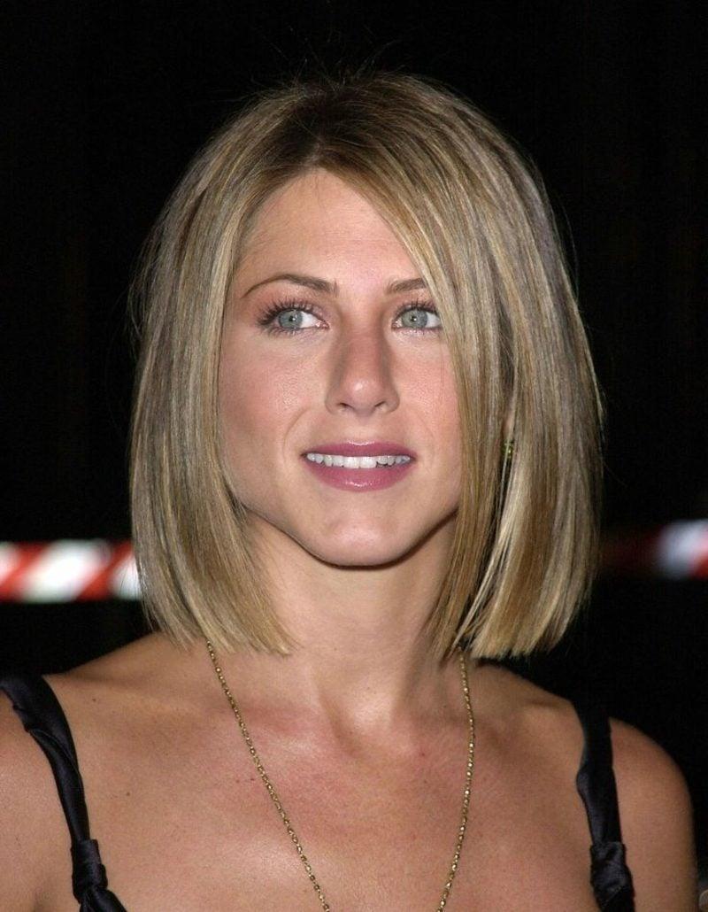 langer Bob blonde Haare Jennifer Aniston