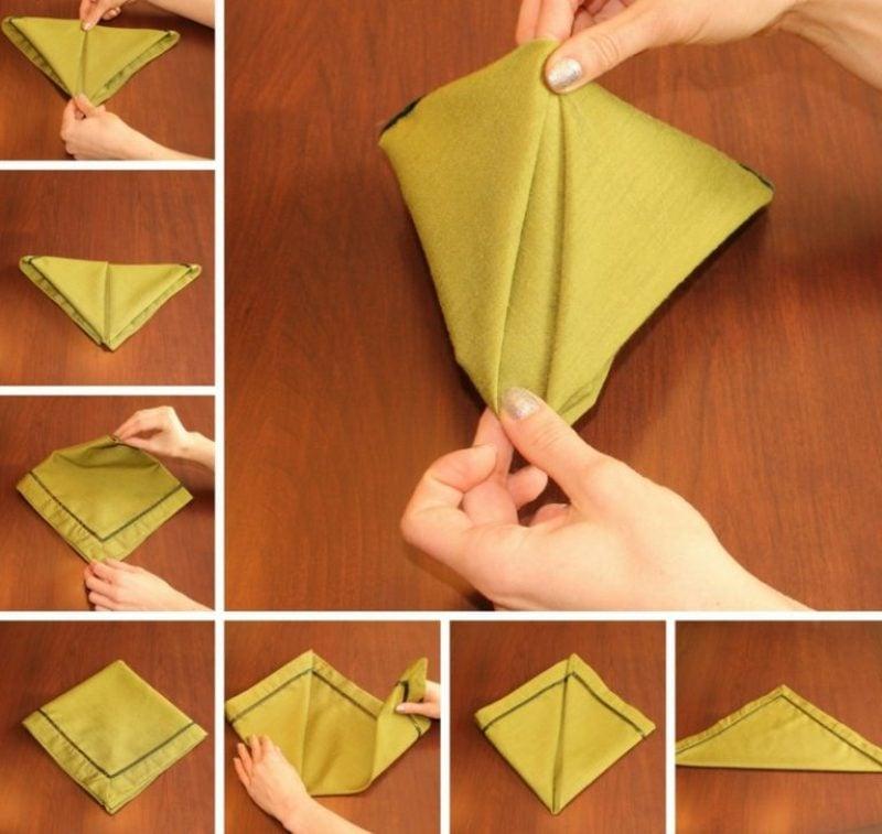 Servietten falten zu Weihnachten Pyramide