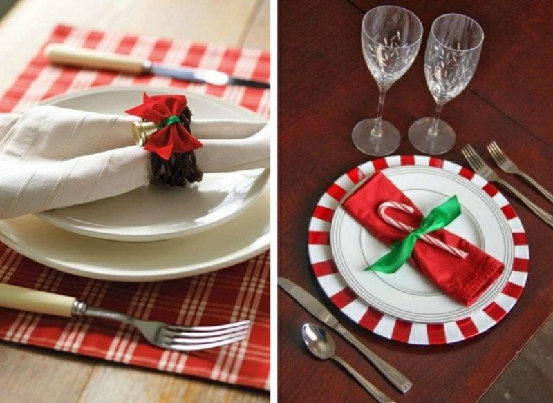 Servietten falten zu Weihnachten DIY Serviettenringe Schleife