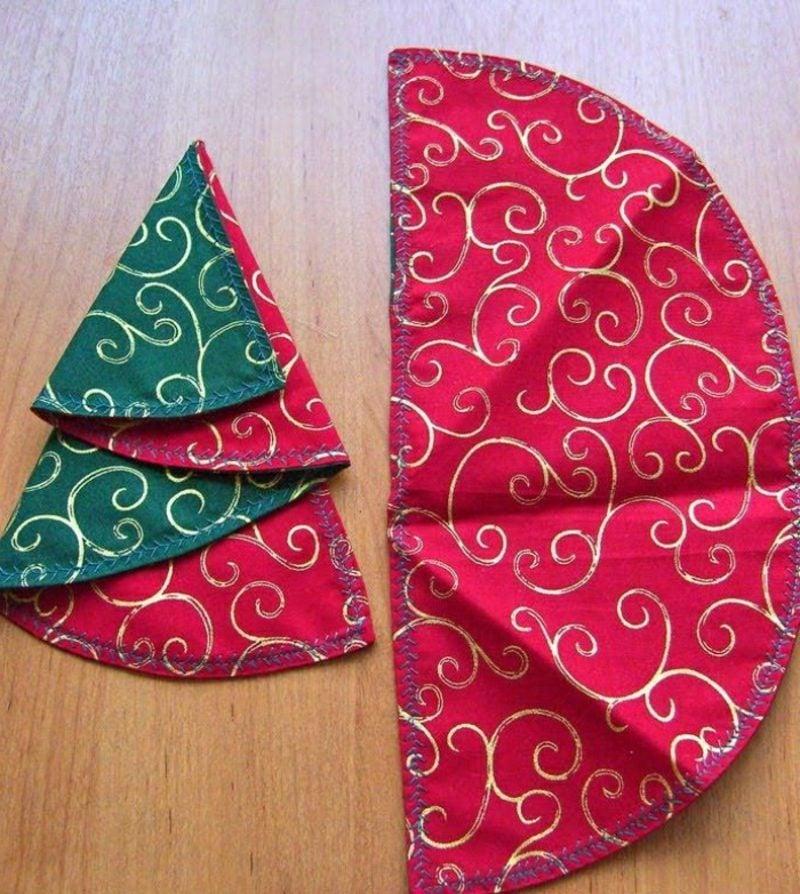 Servietten falten zu Weihnachten Tannenbaum doppelseitig