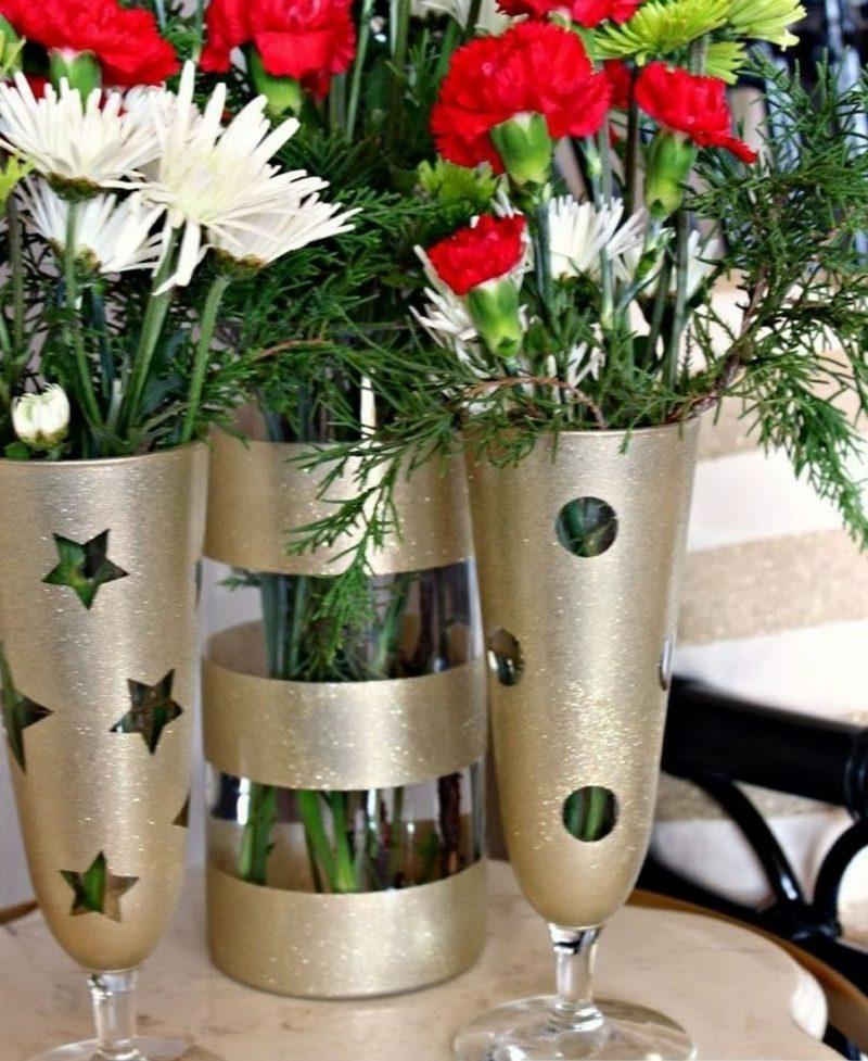 selbstgemachte Geschenke Weihnachten Glasvasen dekorieren